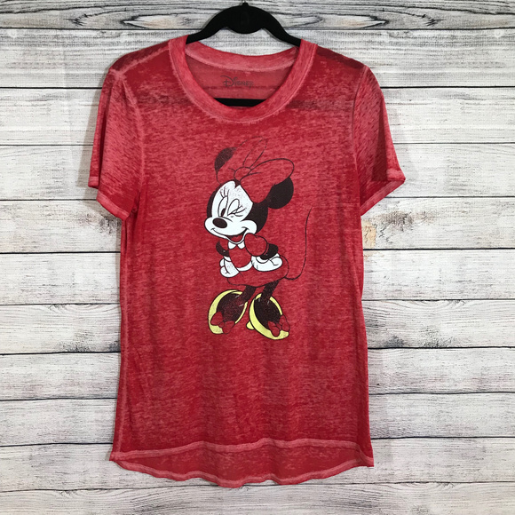 Disney Tops - ❤️ Minnie Mouse Disney Burnout Sheer Short Sleeve